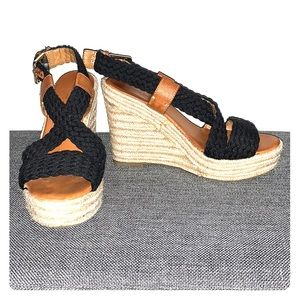 Banana Republic Wedge Sandals Black Size 6